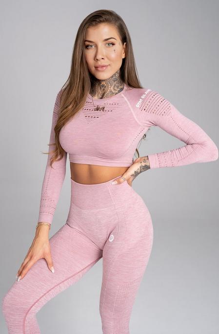 Gym Glamour Crop-Top Pink Melange, S - 1