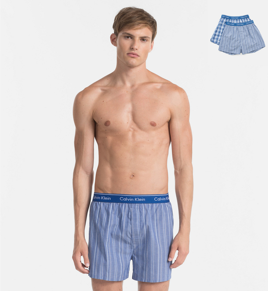 Calvin Klein 2Pack Trenky Modré So Vzormi - 2