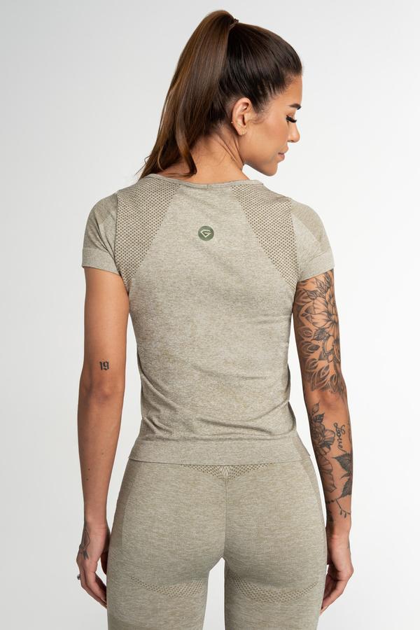 Gym Glamour Tričko Bezšvíkové Fusion Khaki, L - 2