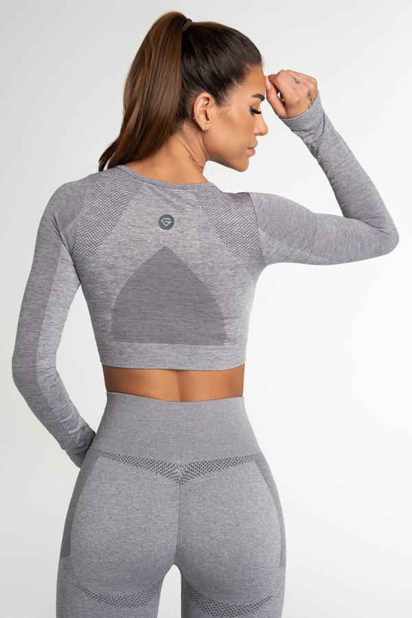Gym Glamour Crop Top Bezšvíkový Fusion Light Grey, XS - 2