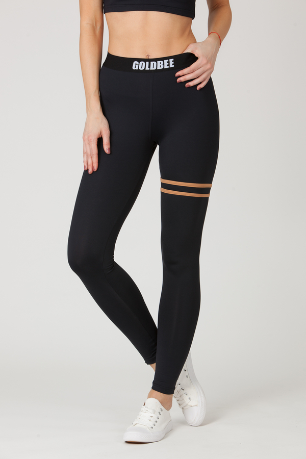 GoldBee Legíny BeStripe Up Black&Latté - 2