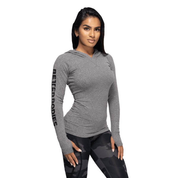 Better Bodies Tričko Performance Long Sleeve Hood Black and Gray - 2