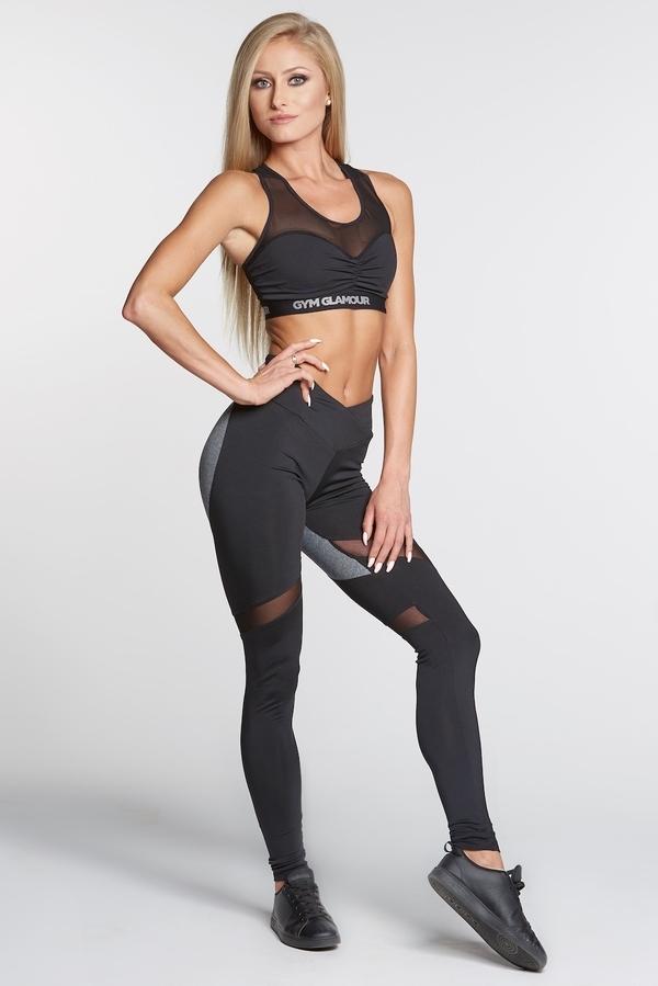 Gym Glamour Legíny Black And Grey Heart, S - 2