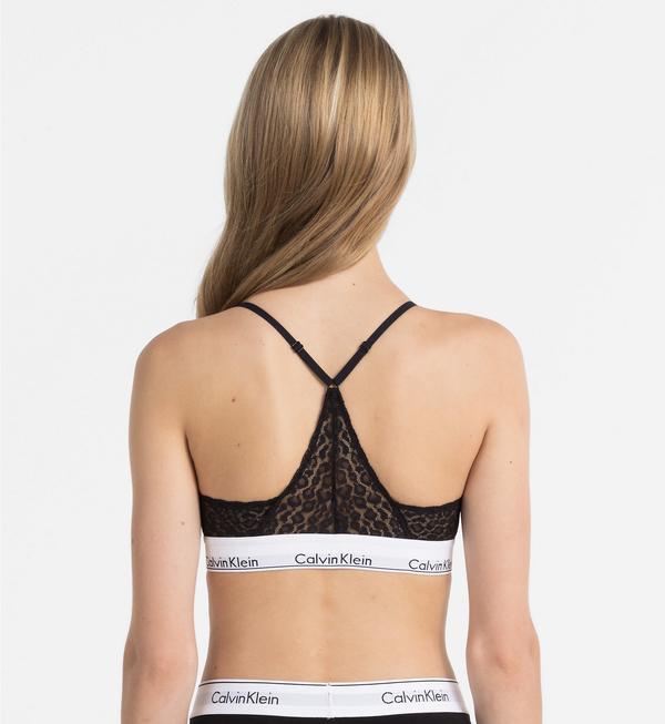 Calvin Klein Podprsenka Triangle Čipkovaná Čierna, L - 2