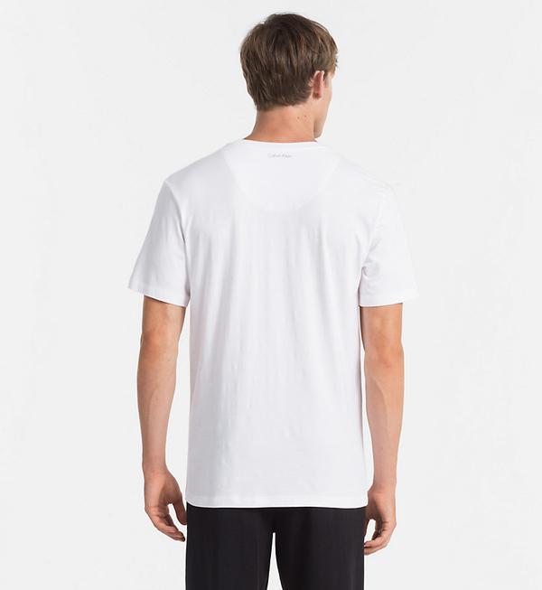 Calvin Klein Pánske Tričko S Nápisom Biele, S - 2