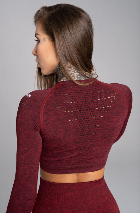 Gym Glamour Crop-Top Bordo Melange, S - 2
