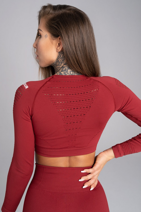 Gym Glamour Crop-Top Bordo, S - 2