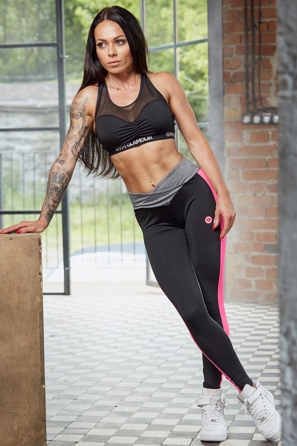 Gym Glamour Legíny S Pink Fluo Pruhem, M - 2