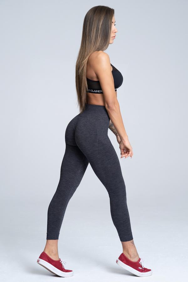 Gym Glamour Legíny Bezšvíkové Grey Melange, L - 2