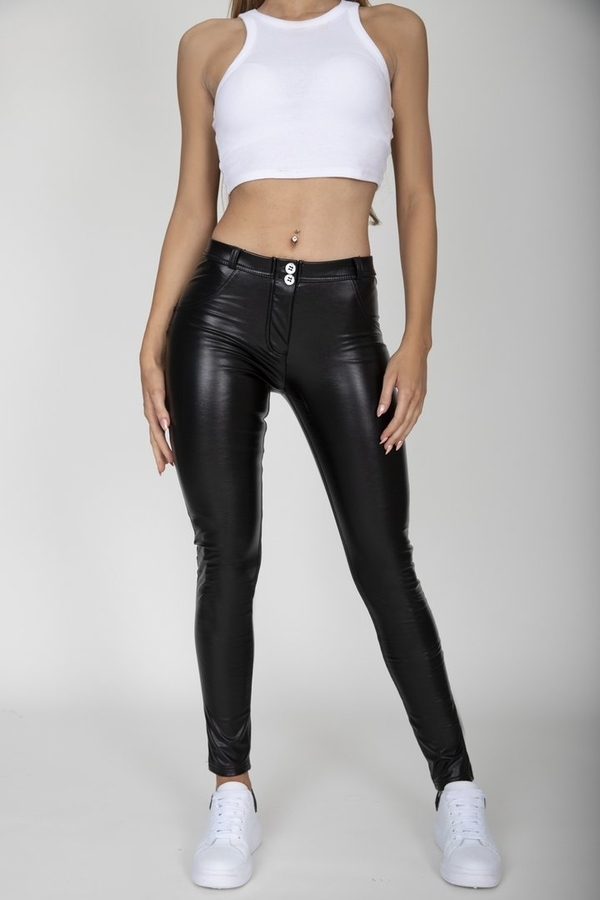 Hugz Black Faux Leather Mid Waist, S - 2