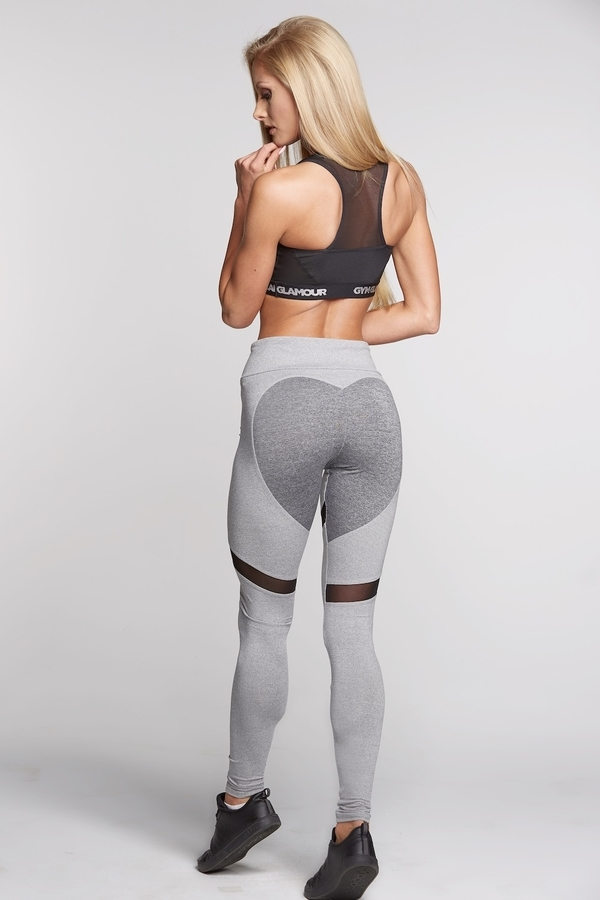 Legíny Gym Glamour Mixed Grey Heart, S - 3