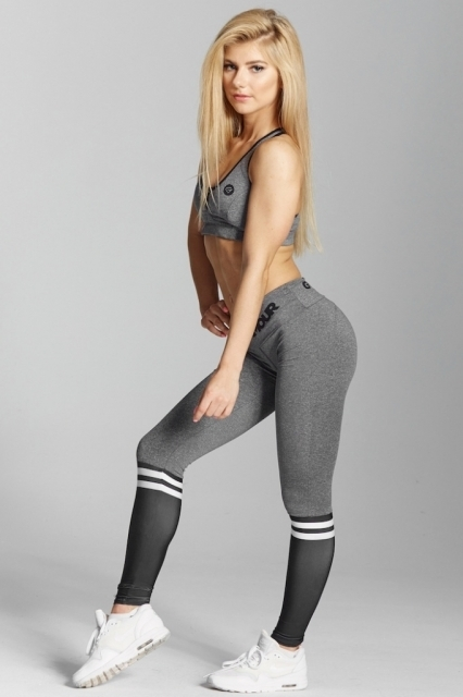 Gym Glamour Legíny Grey & Black Socks, M - 3