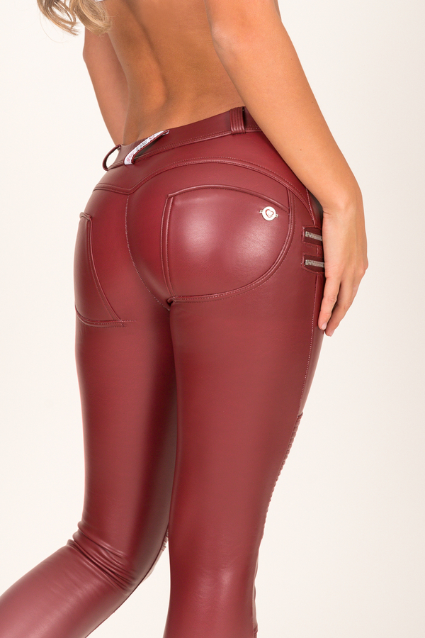 Hugz Wine Faux Leather Biker Low Waist - 3