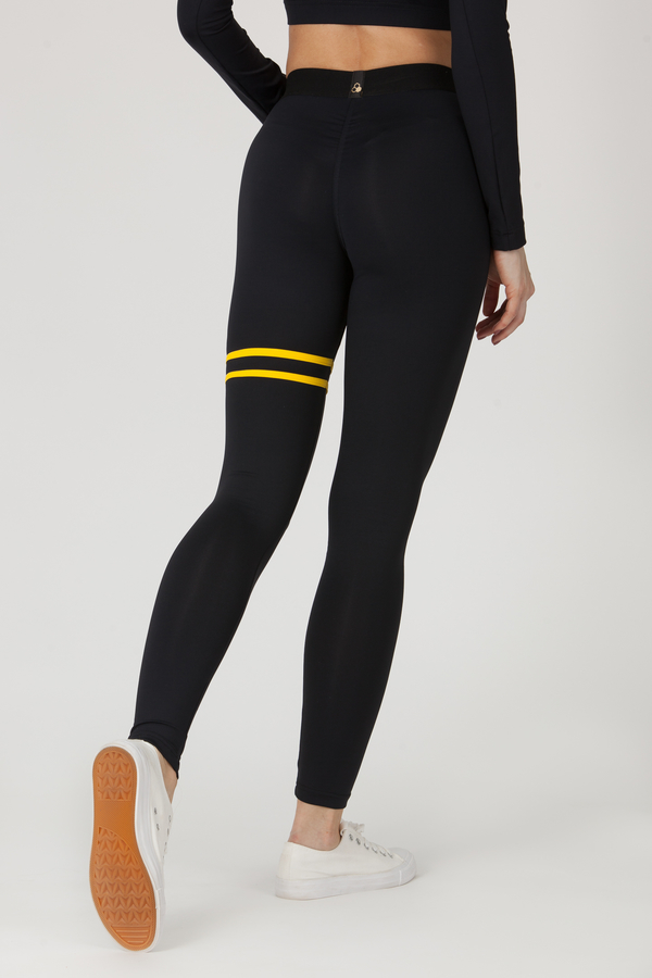 GoldBee Legíny BeStripe Up Black&Yellow, M - 3