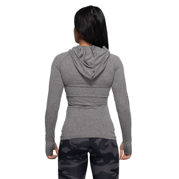 Better Bodies Tričko Performance Long Sleeve Hood Black and Gray - 3