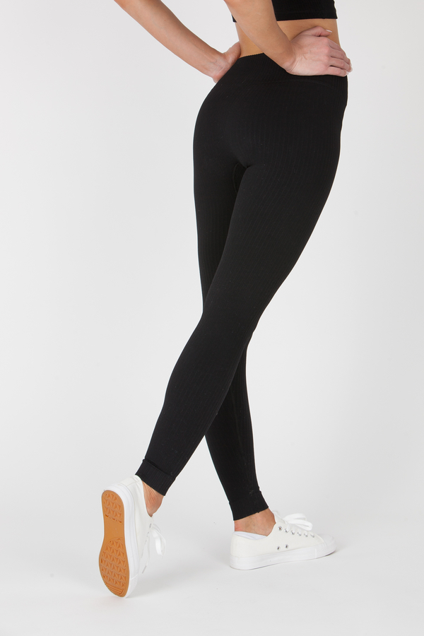 GoldBee Legíny BeSeamless Ribs Black, XS - 3