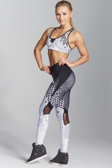 Gym Glamour Legíny White Honey Combs, XS - 3