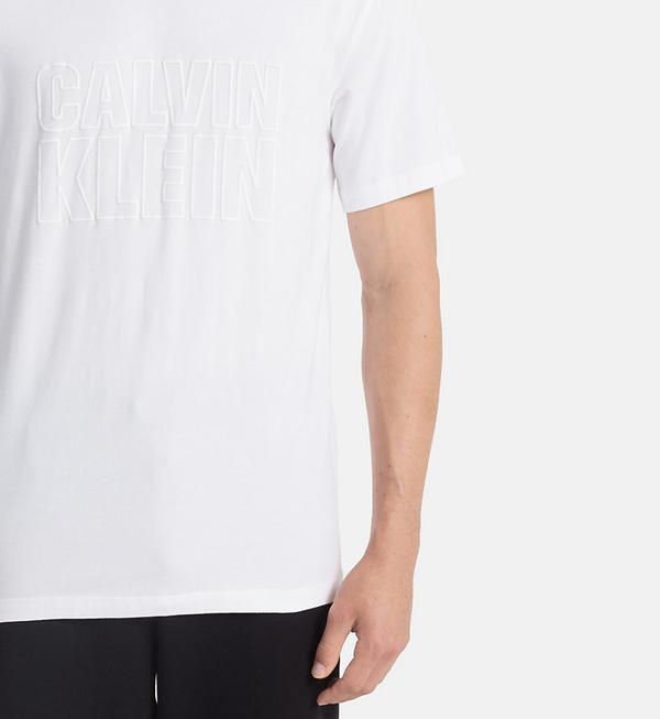Calvin Klein Pánske Tričko S Nápisom Biele, S - 3
