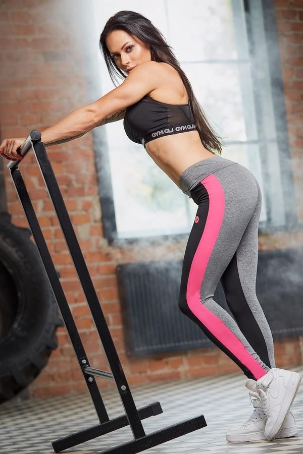 Gym Glamour Legíny S Pink Fluo Pruhem, M - 3