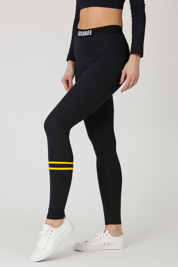 GoldBee Legíny BeStripe Down Black&Yellow, M - 4