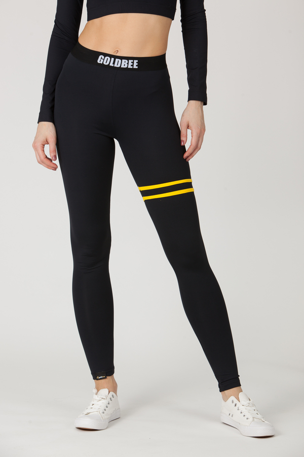GoldBee Legíny BeStripe Up Black&Yellow, M - 4