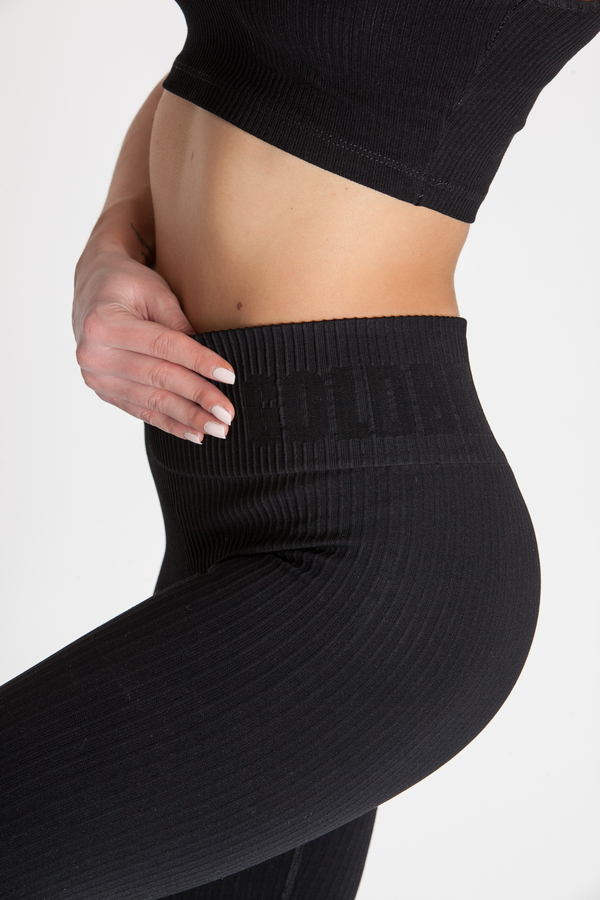 GoldBee Legíny BeSeamless Ribs Black, XS - 4
