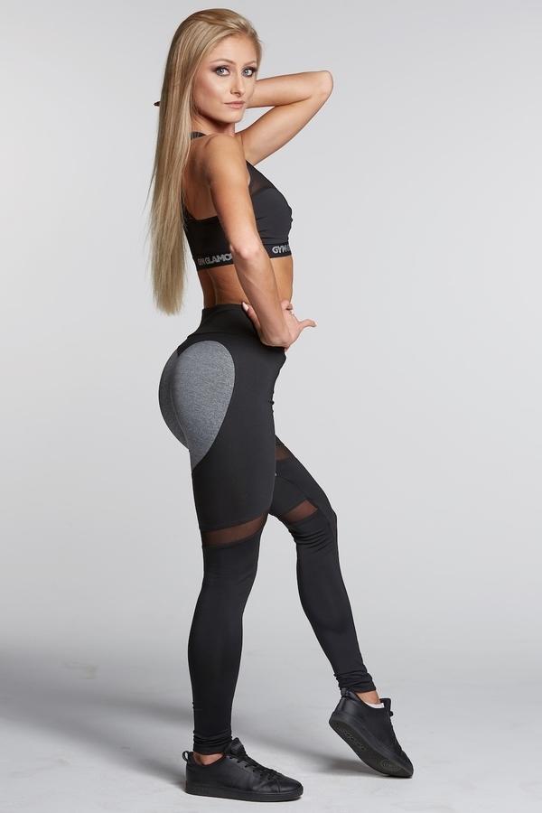 Gym Glamour Legíny Black And Grey Heart, S - 4