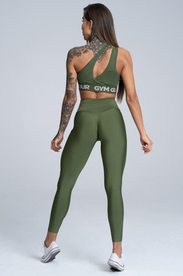 Gym Glamour Legíny High Waist Khaki, L - 4