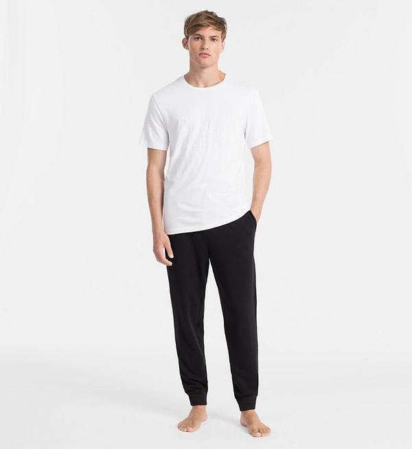 Calvin Klein Pánske Tričko S Nápisom Biele, S - 4