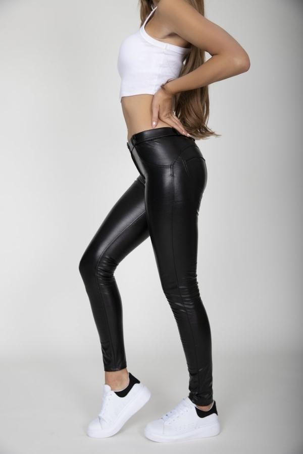 Hugz Black Faux Leather Mid Waist, S - 4