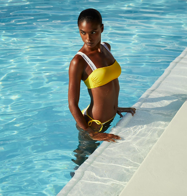 Calvin Klein Plavky CK Logo Yellow Spodný Diel, XXS - 5