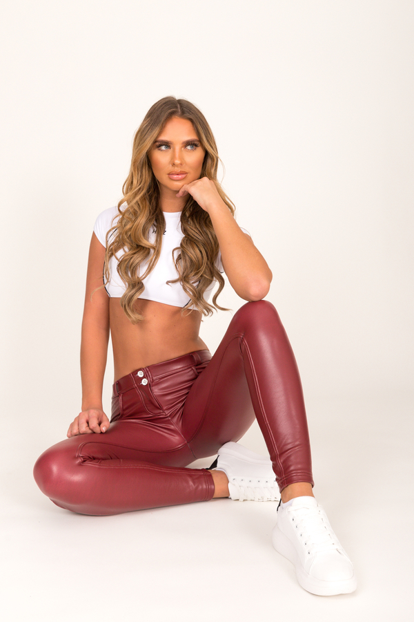 Hugz Wine Faux Leather Low Waist - 5