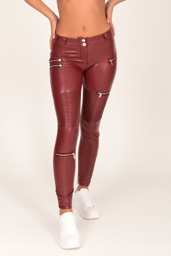 Hugz Wine Faux Leather Biker Low Waist - 5
