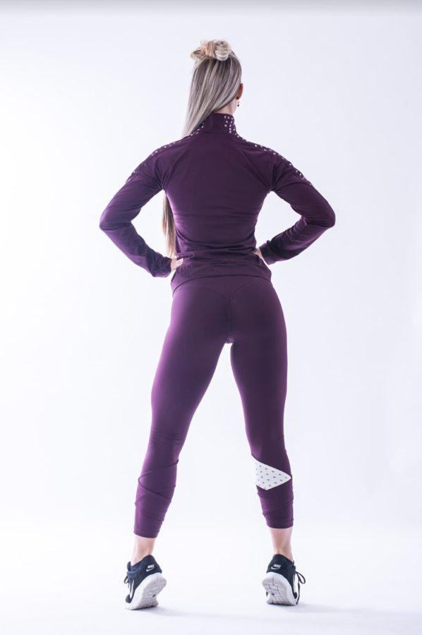 Nebbia 639 Asymmetrical 7/8 Leggings Burgundy - 5
