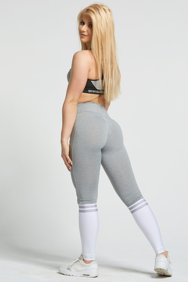 Gym Glamour Legíny Grey & White Socks, XS - 6