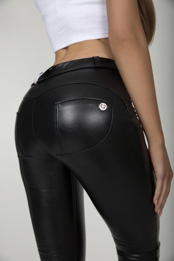 Hugz Black Faux Leather Mid Waist, S - 6