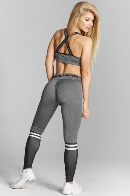 Gym Glamour Legíny Grey & Black Socks, M - 7