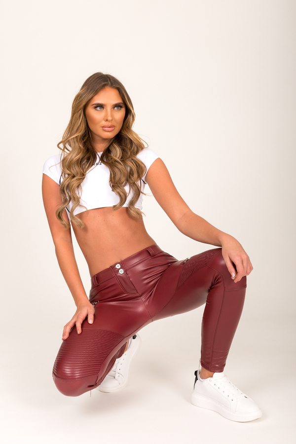 Hugz Wine Faux Leather Biker Low Waist, S - 7